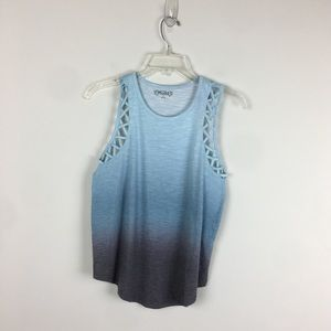 Blue and grey ombré tank top